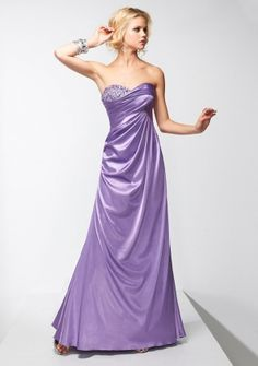 A-line Sweetheart Strapless Sweep/ Brush Train in Satin Evening Dress