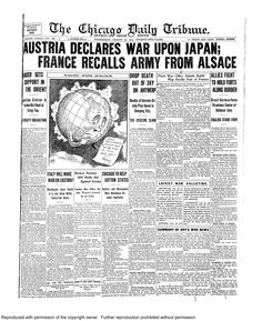 Aug. 26, 1914: Austria declares war on Japan, France recalls army from Alsace.