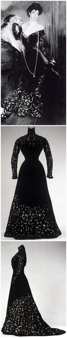 Black silk velvet with cut-out decorations in Liberty style, garnished with chenille drawstring on the triangular neckline; Italian manufacture (Naples or Palermo); 1900-1901. Collection Galleria del Costume di Palazzo Pitti. Top: Portrait of Donna Franca Florio wearing the same dress, by Giovanni Boldini (1845-1931), Paladino Family Archive, Palermo, Photographer: Cappellani, Palermo, via JSS Gallery. Middle and bottom photos are via Europeana Fashion Tumblr and Serenella Arte…