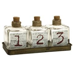 I pinned this 4 Piece Oscar Apothecary Bottle Set from the Artist's Loft event at Joss and Main!