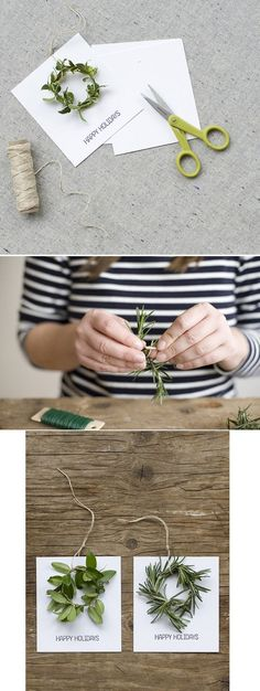 A Christmas card or gift tag accented with a simple, natural small wreath.