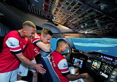 Arsenal trio Alex Oxlade-Chamberlain, Carl Jenkinson and Kieran Gibbs appear to have a career in the cockpit lined up when they retire – after successfully landing an Emirates aeroplane. Arsenal Players, Arsenal Fc, Kieran Gibbs, Airbus A380, Career Change, Landing, Dubai, Challenges, Sports