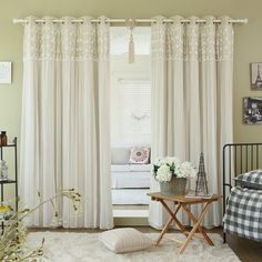 Aurora Home Floral Lace Overlay Thermal Insulated Blackout Grommet Top Curtain P in Home & Garden,Window Treatments & Hardware,Curtains, Drapes & Valances Decor, Cool Curtains, Panel Curtains, Home, Grommet Top Curtains, Grommet Panels, Grommet Curtains, Bed Bath And Beyond, Home Decor