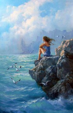 Natalya, Tokar (b,1973)- Woman, Shore, On Rocks and seagulls flying over the waves.
