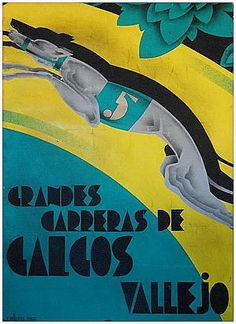 grandes carreras de galgos - Vallejo - maqueta pintada firmada por Vicente Ballester Marco (1887- 1980)