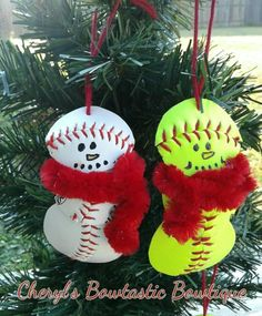 Real Baseball or Softball Snowman Ornament Snowman Ornament Samantha Snow, Snowman Ornaments, Christmas Ornaments, Baseball Jewelry, Christmas Decorations, Holiday Decor, Christmas Ideas, Coach Gifts, Softball