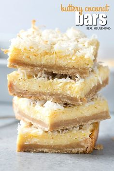 A stack of Buttery Coconut Bars