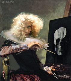 Marie-Noëlle Pécarrère           Black Flag D'après l'autoportrait de Judith Leyster ( 1609 -1660 ) To be, or not to be, that is the question .