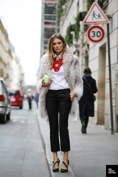 Love It : crisp white blouse, red statement necklace, dress pants, and fab fur