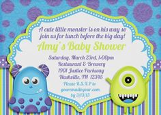 Monsters Inc Baby Shower invitation.. got these and they are ADORABLE!