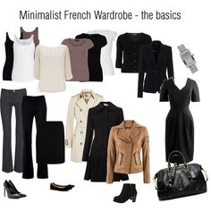 """""""Minimalist French Wardrobe basics"""" by jennio888 on Polyvore yessss, but more black! I just want to wear black head to toe every day..."""