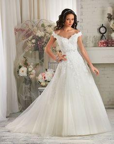 a-line_wedding_dress_with_scalloped_off_the_shoulder_sleeves #WeddingDressesOfftheShoulder