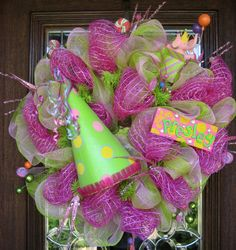 Deco Mesh HAPPY BIRTHDAY or PRINCESS Wreath by decoglitz on Etsy, $125.00