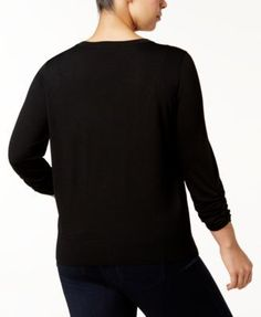 INC Plus Size Embroidered V-Neck Cardigan, Created for Macy's - Black 3X