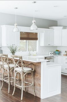 "Kitchen with reclaimed wood boards. Paint Color: ""Benjamin Moore Stonington Gray HC-170"" #Kitchen #KitchenIdeas"