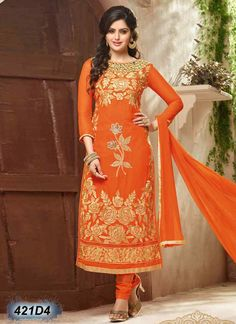 Adorning Orange Coloured Georgette Semi stitched Salwar Suit