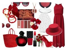 """""""Red Summer"""" by basmahahmed ❤ liked on Polyvore featuring Schutz, Sensi Studio, NEST Jewelry, BillyTheTree, MAC Cosmetics, Gucci, Laura Geller, Alexander McQueen and Nearly Natural"""