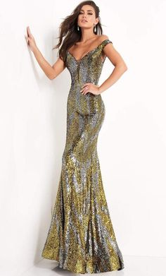 Achieve the next level of sophistication in this evening gown by Jovani 04149. This shimmering two-tone full sequin gown fashions a combination of an off-shoulder and plunging V-neckline, form-fitting bodice with a mid-open V back. This spectacular piece is completed with a graceful trumpet silhouette skirt with horsehair hem for a defined floor length finish. This Prom Dress collection by Jovani creation is truly remarkable! Fitted Prom Dresses, Prom Dresses Jovani, Designer Prom Dresses, Mermaid Prom Dresses, Pageant Dresses, Prom Dress Stores, Sequin Gown, Dress Collection, Evening Gowns