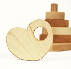 Heart Stacker. Natural organic wood baby stacker that double as teethers. By manzanitakids, $36