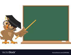Owl teacher holding pointer at blackboard Vector Image , Owl Background, Happy New Year Text, Teacher Cartoon, Kids Cartoon Characters, Watercolor Wallpaper Iphone, Business Cartoons, Boarder Designs, Dog School, School Murals