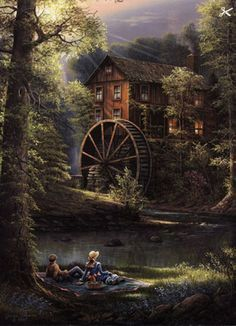 Afternoon Leisure art print by Jesse Barnes is available for sale at a great value at Christ-Centered Art. Pictures To Paint, Old Pictures, Dream Pictures, Thomas Kinkade, Le Moulin, Winter Scenes, Beautiful Paintings, American Artists, Cool Art
