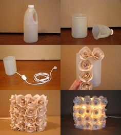 You can make awesome DIY lamp from recycled plastic containers. To make this lamp, you will need a large plastic container coffee filter or crepe paper glue Diy And Crafts, Arts And Crafts, Creative Crafts, Plastic Bottle Crafts, Diy With Plastic Bottles, Old Bottles, Diy Wedding, Budget Wedding, Wedding Reception