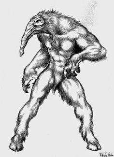 Capelobo (Brasil). O capelobo, pertence ao folclore do Pará e do Maranhão. O nome parece ser uma fusão indígena-português: capê (osso quebrado, torto ou aleijado) + lobo. A lenda lhe dá características de licantropo e, às vezes, também de vampiro. Pode aparecer em duas formas. Na forma animal, é do tamanho de uma anta, mas é mais veloz. Apresenta um focinho descrito como de cão, anta, porco ou tamanduá e tem uma longa crina. Peludo e muito feio, sempre perambula pelos campos...