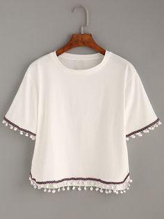 Camiseta bordada cinta -blanco