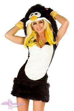 Besuche uns gern auch auf dressme24.com ;-) Pinguin Kostüm Deluxe -  JValentine USA - Freches Stretch Frottier Minikleid mit langem Reißverschluß vorn und kultiger Kapuze. Zusätzlich ist das Kleid mit kuschelweichem Kunstpelz verziert. #Kostueme, #Sexykostueme, #Pinguinkostuem