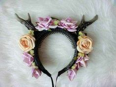Antler headband with peach and lavender roses, fashion