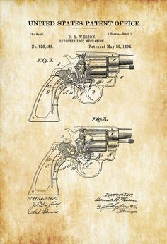 A patent print poster of a Smith and Wesson Revolver Revolver Lock mechanism invented by D. The patent was issued by the United States Patent Office on May Daniel Baird Wesson … Smith Wesson, Smith And Wesson Revolvers, Poster Art, Poster Prints, Art Print, Gun Art, Patent Drawing, Patent Prints, Firearms