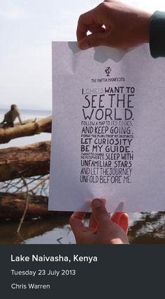 The manifesto at Lake Naivasha, Kenya from Chris Warren.