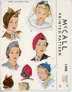 McCall 1498 Misses 1940s Hat Pattern Millinery by CynicalGirl, $58.00