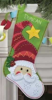 Dimensions Felt Applique Kit Santa Stocking, , hi-res Santa Stocking, Christmas Stocking Pattern, Felt Christmas Ornaments, Christmas Sewing, Christmas Time, Christmas Decorations, Santa Christmas, Felt Stocking, Stocking Ideas