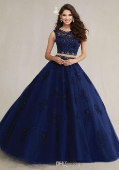 Two Pieces Navy Blue Quinceanera Dresses 2015 Sheer Neck Lace Beaded Appliques Ball Gowns Prom Debutante Dresses Sweet 15 Más