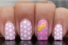 Hello Kitty polka dot nails