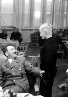 "A young Donald meets Die Fuerher in the way-back machine. Adolf gets a little grabby, giving the young Donald ""Ideas."""
