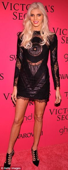 Endless legs: Both Jacquelyn Jablonski and Devon Windsor displayed their impressive pins in black mini dresses at the Victoria's Secret Fashion Show after party