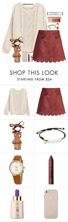 """""""Thanksgiving Outfit?!"""" by lizziestylescute ❤ liked on Polyvore featuring Steve Madden, TOUS, Kate Spade and tarte"""