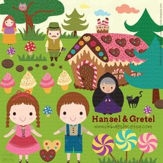 Hansel and Gretel - Clip Art Set - D13-003 ( also available in blonde hair color ). $8,50, via Etsy.