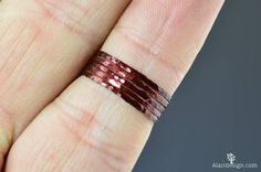 Super Thin Cherry Copper Stackable Rings Copper by Alaridesign Silver Stacking Rings, Copper Rings, Stackable Rings, Measure Ring Size, Skinny Rings, Silver Roses, Jewel Tones, Blue And Silver, Jewels