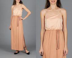 Vintage 70s Peach Grecian Dress Grecian Dress, Braided Belt, Peach Colors, Light Shades, Vintage 70s, Bodice, Braids, Summer Dresses, Skirts