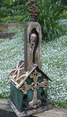 Vintage Church Birdhouse with Ringing Bell Perfect for birds~but most folks keep them indoors! Unique gift for any nature lover