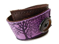 Leather Cuff Bracelet Wrap, Tree Silhouette Print in Brown & Purple, Adjustable Size - SALE - see Listing for Coupon Codes...