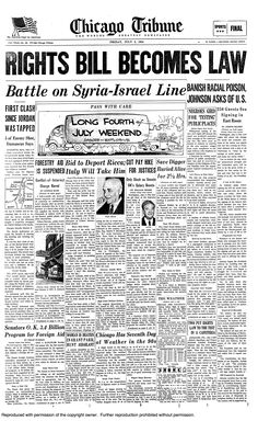 Chicago Tribune (July 2, 1964) Civil Rights Act Becomes Law