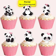 12 x edible wafer baby girl panda cupcake cake toppers Pre-cut baby shower, 1st birthday