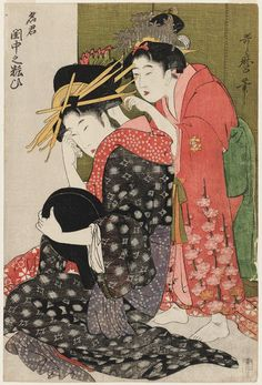Kitagawa Utamaro: A Top Courtesan Applying Makeup in Her Boudoir (Meikun keichû no yosooi) - Museum of Fine Arts
