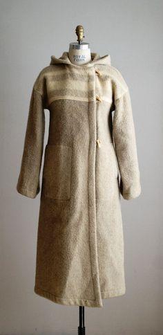 wool blanket coat | 70s coat / 1970s hooded long wool blanket coat
