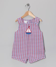 Take a look at this Petit Pomme Red & Blue Plaid Sailboat Seersucker Shortalls - Infant on zulily today!