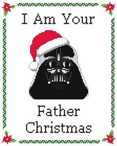 Darth Vader Star Wars Inspired Funny Christmas by KnerdlyKnits Cross Stitching, Cross Stitch Embroidery, Cross Stitch Patterns, Christmas Cross, Christmas Humor, Father Christmas, Darth Vader Christmas, Disney Christmas, Christmas Recipes